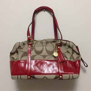 Brand new! Coach Purse with Red Leather Accents